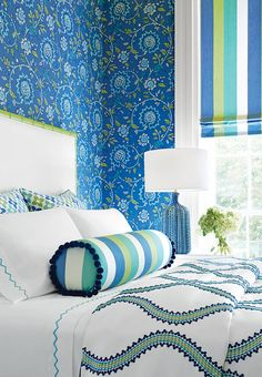 Sevita #wallpaper in #blue and #green from the Caravan collection. Darien…