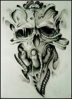 Master of Darkness by ShamelessArt on DeviantArt Evil Skull Tattoo, Skull Rose Tattoos, Skull Girl Tattoo, Skull Sleeve Tattoos, Evil Tattoos, Scary Tattoos, 4 Tattoo, Body Art Tattoos, Tattoo Design Drawings