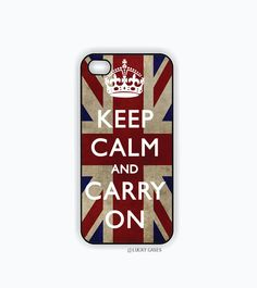 iPhone 5 case, iPhone 5s case, Keep calm and carry on UK, Hard Plastic Case