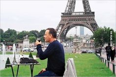 Hipster spotted in France ~ Tom Hanks / typewriter with eiffel tower on table