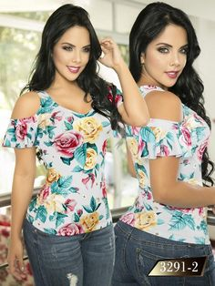 Blusa moda colombiana thaxx - ref. Blouse Styles, Blouse Designs, Fashion Over, Refashion, Women's Fashion Dresses, Ideias Fashion, Plus Size, My Style, Womens Fashion