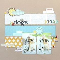 Dog Scrapbook Layouts, Scrapbook Sketches, Baby Scrapbook, Scrapbook Paper Crafts, Scrapbook Cards, Scrapbook Titles, Project Life, Picture Layouts, Origami