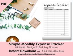 Monthly Expense Tracker Planner Printable, Financial Planner, Budget Planner A4, A5, Letter Sizes