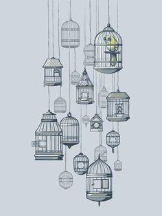 birds in a cage illustration Art And Illustration, Pintura Graffiti, Buch Design, Bird Cages, Bird In A Cage, Bird Art, Art Drawings, Wall Drawing, Creations