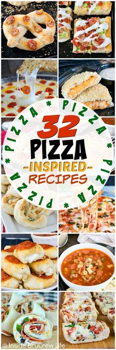 32 Pizza Inspired Recipes - 32 different appetizers, dinners, and snacks that are loaded with pizza toppings. Great recipes for game day parties! #pizza #appetizers #dinners #pepperoni #cheese #gamedayfood #footballfood