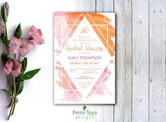 Bridal Shower Party Custom Invitation, Printable Wedding Shower Invitation, Elegant Geometric Shapes & Pastel Colors, Watercolor Invite