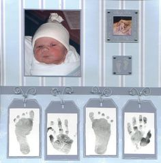"Sweet ""Tiny Fingers Tiny Toes"" Newborn Page...with attached hand & footprints. By thevalerie - twopeasinabucket."