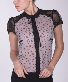 Another great find on #zulily! ZEAN Gray & Pink Polka Dot Lace Accent-Back Top by ZEAN #zulilyfinds