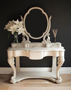 Photo Credit: Autentico Chalk Paint - White, Distressed Dressing Table