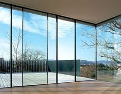 Sky-Frame is a Swiss made unique system for large-surface sliding windows whose surrounding frame can be installed flush with walls, ceilings and floors – the… Sliding Door Design, Sliding Windows, Sliding Glass Door, Windows And Doors, Sliding Doors, Glass Doors, Zen Design, Double Vitrage, Window Design