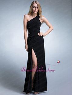 Beinschlitz One-Shoulder Abendkleid 2013 Schwarz Zierperlen Sonne GWED068 €151.44
