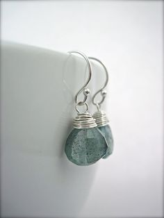 Aquamarine Earrings March Birthstone Moss by NellBelleDesigns, $31.00