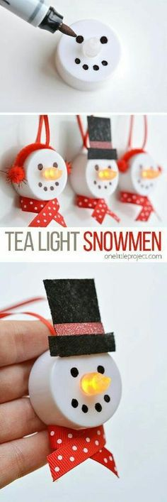 Dollar Store Tea Light Snowman Ornaments diy by dianne
