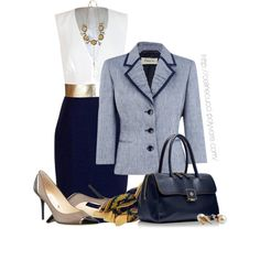 Office Elegance - Navy & Taupe, created by celinecucci on Polyvore