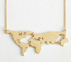 "If you're going to wear a statement necklace, let it make a statement like, ""I love every continent except Antarctica."" Versatile enough to work with any outfit, this marvelous piece is the perfect wa"