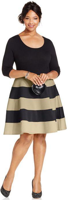 22db69bd034 Plus Size Colorblocked Fit   Flare Dress Trendy Plus Size Fashion