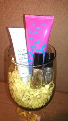 $12 - Avon Wine Glass Hand and Nails Gift Set. Makes a great gift for any wine lover - They get to reuse the glass! Includes Avon Hand Cream, Two Nail Enamel and Cuticle Removing Gel. Text/call Stephanie @ 248-880-7392 or email GetMyAvonToday@Yahoo.com to place your order or for questions.