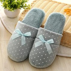 6cdd21020b4 Candy color Warm Home Slippers Women Bedroom Winter Slippers Cartoon Bowtie  Indoor Slippers Cotton Floor Home Flax Shoes