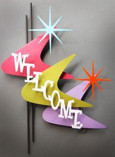 "Vintage Shop Inspiration •~• Mid-Century Modern-inspired boomerang starburst ""Welcome"" sign"