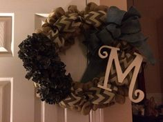 Burlap Chevron Hydrangea Monogram Wreath