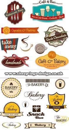 cupcake and bakery label logos www.cheap-logo-design.co.uk #bakerylogos #logodesign #cupcakelabels