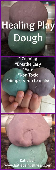 Play Dough that is safe, non-toxic, and Healing! A great way to calm little ones down or help them breathe clear...