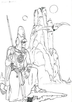 Arzach  by ObalofSerbia  Drawing from my old profile - palerider12 - so i decided to upload it to my new profile. Done with pen and brush.#fanart #moebius #art #arzach #harzach #pendrawing #art #ink #inked anindesert #scifi #fantasy #sun #rock
