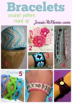 #Crochet Bracelets - free crochet pattern round up from Jessie At Home