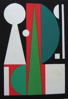 Auguste Herbin: Non (Témoignage XV) Pochoir, 1952