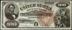 United States Notes - 1880 One Hundred Dollar Bill Legal Tender Note, Abraham Lincoln. Large brown treasury seal