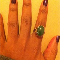 Vintage cocktail ring  One of my favorites! Super cute statement ring with green stone (jade?). Fits like a loose 7. Vintage Jewelry Rings