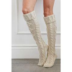 Forever 21 Cuffed Knee-High Slipper Socks ($13) ❤ liked on Polyvore featuring intimates, hosiery, socks, cable socks, cuff socks, forever 21, cable knit socks and cable knee high socks