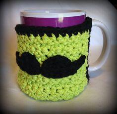 Crochet Mustache Coffee mug cozy warmer 100 by FreshOffTheeHook, $7.50