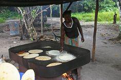 Baking cassava bread in Suriname