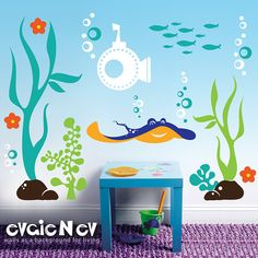 Underwater Wall Decals Fish Wall Sticker  Underwater by evgieNev, $119.00