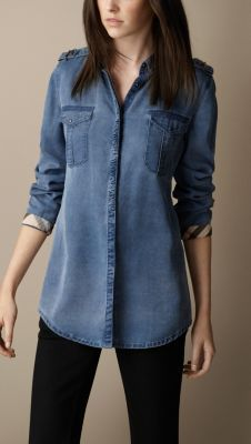 New in: shop the latest women's arrivals including clothing, accessories and shoes from Burberry, inspired by the runway.denim shirt + + white stylenotes stylebook at ShopStyle Casual Dresses, Fashion Dresses, Casual Outfits, Fitted Denim Shirt, Gingham Shirt, Denim Shirts, Denim Jeans, Kurta Designs, Blouse Designs