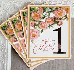 Blush Pink and Gold Roses Wedding Reception Table Numbers Botanical Watercolor Vintage Garden