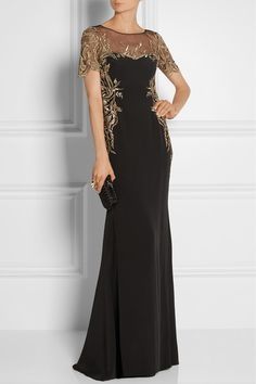 Marchesa Notte | Embroidered tulle and silk-crepe gown | NET-A-PORTER.COM