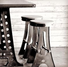 A Frame Stools and Table by Vintage Industrial Furniture