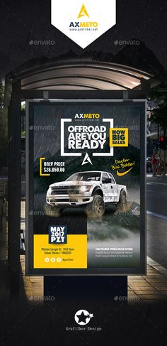 Off-Road Adventure Poster Templates by grafilker Off-Road AdventurePoster Templates Fully layeredPSD300 Dpi, CMYKCompletely editable, print ready Text/Font or Color can be altered