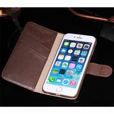 CYBORIS Genuine Leather case for iphone 6 6S 6plus for iPhone7 7plus flip Leather holster cover Fundas Wallet Stand&Card Holder