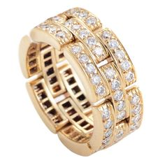 Cartier Maillon Panthere Diamond Gold Band Ring | From a unique collection of vintage band rings at https://www.1stdibs.com/jewelry/rings/band-rings/