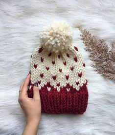 Lets get into the details- C O Z Y up this winter season with a cute fair isle knitted hat! Crochet Baby Poncho, Baby Hats Knitting, Fair Isle Knitting, Knitted Hats, Knit Crochet, Crochet Hats, Loom Knit Hat, Loom Knitting, Knitting Machine Patterns