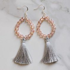 Earrings Handmade New gray silky tassel and pink crystal beaded earrings will be added to the shop today! Love the sparkle ✨ - Tassel Jewelry, Beaded Jewelry, Jewelery, Beaded Necklace, Beaded Earrings Patterns, Bead Earrings, Earrings Online, Crystal Earrings, Beading Patterns