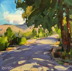 """Daily Paintworks - """"Sun and Shadows On The Road"""" - Original Fine Art for Sale - © Cathleen Rehfeld Landscape Drawings, Abstract Landscape Painting, Watercolor Landscape, Landscape Art, Landscape Paintings, Watercolor Art, Abstract Oil, Abstract Paintings, Oil Paintings"""