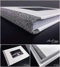 White leather, crystal glance die cut and woven spine. Designed by Ani Evans Photography and presented in Design Box. Album Cover Design, Wedding Book, Box Design, Photo Book, White Leather, Album Covers, Notebooks, Albums, Evans