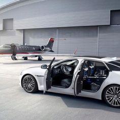 Jaguar XJ and private plane