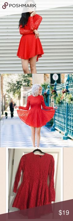 Red dress one hour sale Lace dress H&M Dresses Asymmetrical