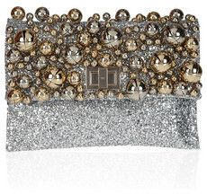 Anya Hindmarch Valorie Bells embellished glitter-finished leather clutch