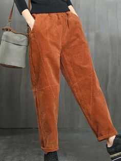 Pockets Solid Color Elastic Waist Casual Corduroy Pants is necessary for cold weather, NewChic will show cheap trendy women Pants & Capris for you. Casual Hijab Outfit, Cute Casual Outfits, Fashion Pants, Fashion Outfits, Pants For Women, Clothes For Women, Over 50 Womens Fashion, Corduroy Pants, Modest Dresses